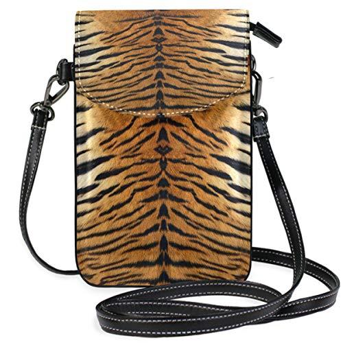 ZZKKO Mini-Kreuztasche mit Tiermotiv und Tigermotiv, Leder, für Damen, lässig, Reisen, Wandern, Camping