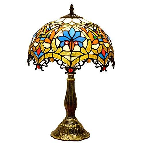 12-Inch Barock Europäische Tischlampe Tiffany Stil Schreibtischlampe Retro Art Deco Indoors Schlafzimmerlampe Kreative Dekoriert Buntglas Lampenschirm Kirche Glasschirm Schlafzimmer Nachttischlampe