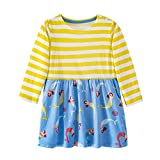 Mooler Mädchen Rundhalsausschnitt Langarm Casual Kleid Streifen Meerjungfrau Muster T-Shirt-Kleid