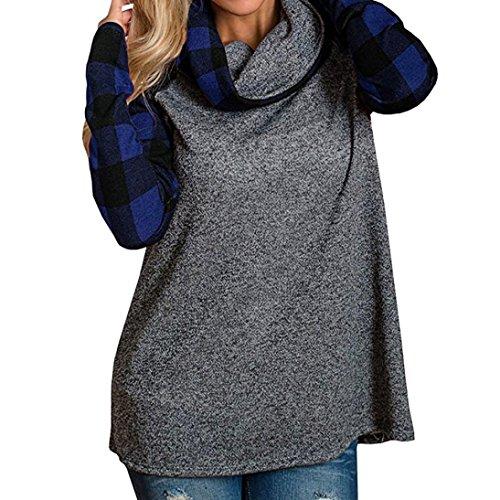 Camicia a maniche lunghe, Rcool Felpa da donna con collo alto Camicie scozzese maniche lunghe a tunica Blu