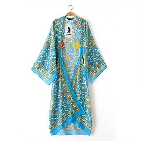 Top Cover Blouse, Kingwo Women Print Beach Chiffon Loose Shawl Kimono Cardigan 8455 Top Cover Blouse Blue (S)