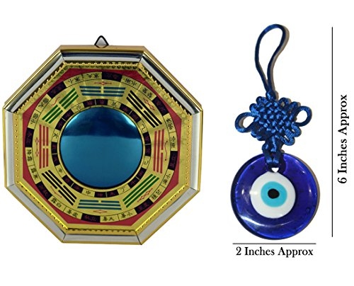 "IndianStore4All Potente FENGSHUI BAGUA AUTENTIC MIRROR PROTECTION 8""x8"" INCHES-FOR ENERGÍA POSITIVA EN CASA, FREE EVIL EYE HANGING"