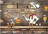 WH-PORP 3D Tapete Tapete 3D Wallpaper für Wände 3D Handbemalte hölzerne Pizza Restaurant Beauty-128cmX100cm