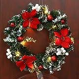 Ghirlanda porta d'ingresso di Natale con luci a LED, ghirlanda di Natale pre-illuminata di lusso porta finestra appeso a parete ornamenti ghirlanda ideale per la decorazione interna ed esterna