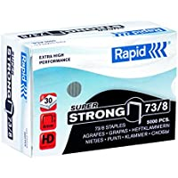 Rapid 24890300 73/8 Super Strong Staples, Hard Galvanised Wire, 8 mm Leg Length, 30 Sheets, Pack of 5000