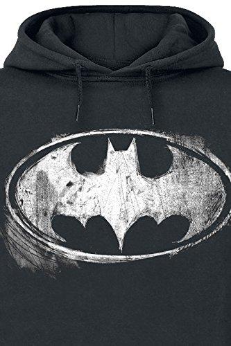 Batman Distressed Logo Kapuzenpulli schwarz Schwarz
