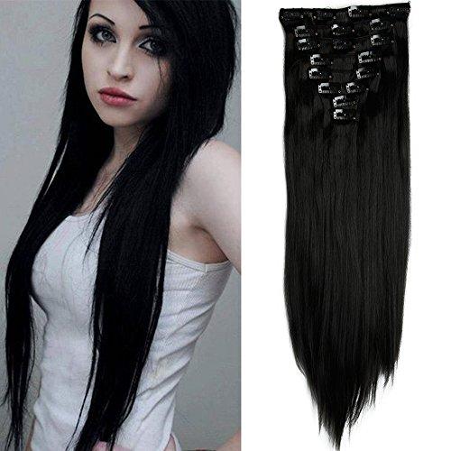 Extension nere con clip capelli sintetici estensioni 8 fasce full head 58cm capelli lunghi lisci straight effetto naturale