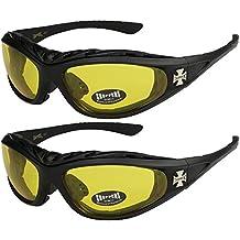 X-CRUZE® 2er Pack Choppers 6608 X 07 Sonnenbrillen Unisex Herren Damen Männer Frauen Brille - 1x Modell 01 (schwarz glänzend/schwarz getönt) und 1x Modell 14 (schwarz glänzend/annährend transparent) KsosJ
