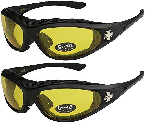 X-CRUZE® 2er Pack Choppers 911 X 05 Sonnenbrillen Motorradbrille Sportbrille Radbrille - 1x Modell 03 (schwarz/gelb getönt) und 1x Modell 03 (schwarz/gelb getönt)