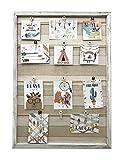 15 Modelle von Holzwand Rahmen mit Seilstütze und kleine verzierte Wäscheklammern (Gebrochenes Weiß, 52 x 72 cm)