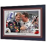 SGH SERVICES Michael Schumacher Sebastian Vettel Ferrari Formel 1 signiertes Autogramm Memorabilia MDF-Rahmen