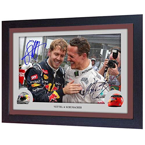 SGH SERVICES Neuf encadrée Michael Schumacher Sebastian Vettel Ferrari Formula 1dédicacée Souvenirs Cadre en Panneau MDF