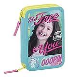 Soy Luna Be Free Plumier double, 34 pièces Bleu/rose Petit format