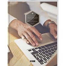 """TULPE Liniertes Notizbuch A4 """"C143 Laptop Business"""" (140+ Seiten, Vintage Softcover, Doppelrand, Seitenzahlen, Register - Dickes Notizheft, Deutschheft, Schreibheft, Schulheft, Tagebuch, Lineatur 27)"""