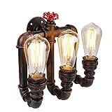 Vintage Wandleuchte Wandlampe Industrie Wand Lampen Water Pipe Industrial Wandleuchte mit 3 Lichter Vintage Retro Wasser Rohr lamp Retro Dekor Wandleuchte (ohne Birne)