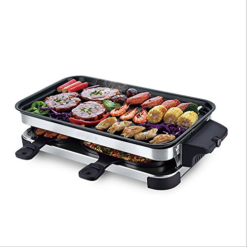 YUN Kitchen@ Sin Humo Eléctrico Hotplate Kebab Machine Temperatura Ajustable 1600 W Hogar Antiadherente Barbacoa Grill