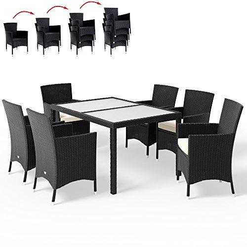 Deuba® Poly Rattan 6+1 Sitzgruppe schwarz | 7cm dicke Sitzkissen in Creme | stapelbare Stühle | wetterbeständigem Aluminium | Milchglas Tischplatten - Sitzgarnitur Essgruppe Tischgruppe Gartengarnitur Gartenmöbel Set …