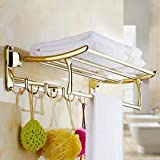 ESS-Two Classic High Grade Stainless Steel Folding Towel Rack (Golden)