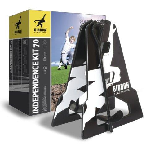 Gibbon Slacklines Independence Kit 70, Slacklinen ohne Bäume, mit 2 Aframes, 2 70cm Bodenschrauben und der bekannten Classic Line 15 m, Aufbauhöhen: 30/50 & 70 cm, Perfekt für Einsteiger, Beginner und Anfänger, perfekter Freizeitsport