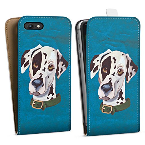 Apple iPhone 5 Hülle Case Handyhülle Dalmatiner Hund Dog Downflip Tasche weiß