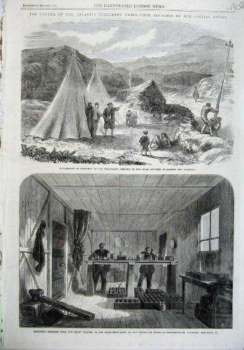 Chambre de Killarney Foilhommerum de Camp du Câble 1865 de Télégraphe par original old antique victorian print