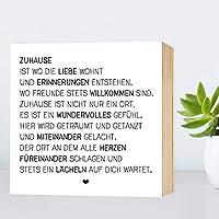 Zuhause - einzigartiges Holzbild 15x15x2cm zum Hinstellen/Aufhängen, echter Fotodruck mit Spruch auf Holz - schwarz-weißes Wand-Bild Aufsteller zur Dekoration oder Geschenk