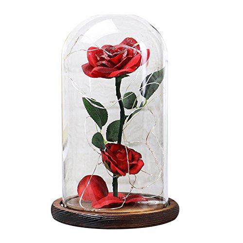 longzjhd-Röcke Schönheit Romantisch Simulation Rose Glas Cover Micro Landschaft Weihnachten Außen Hof Hochzeit Party Wand Tisch Baum Kreative Micro Landscape