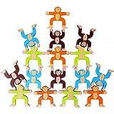 Lewo Giochi di accatastamento in Legno Scimmie Blocchi di bilanciamento Giochi Bambino Piccolo Giocattoli educativi per 3 4 5 6 Anni Bambini Infanti Adulti 16 Pezzi