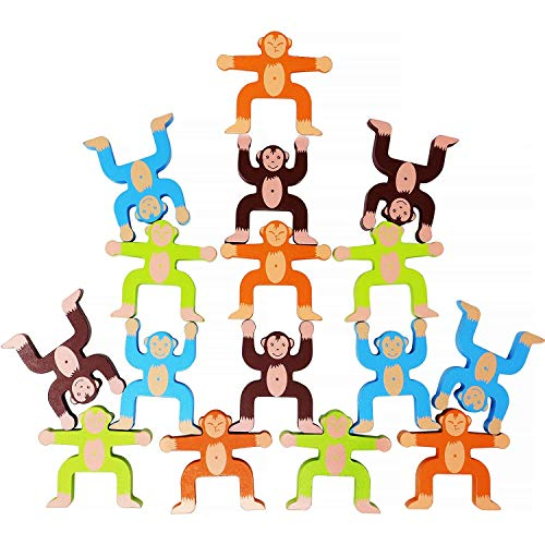 Learning and Educational Toys Cute Colorful Monkey Wooden Balancing Game Building Blocks Kids Children Toy,Wooden Stacking Games Monkeys Interlock Toys Balancing Blocks
