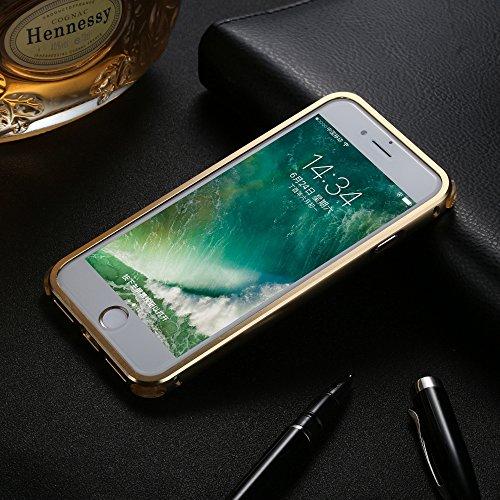 UKDANDANWEI Apple iPhone 7 Hülle,Ultra Dünn Carbon-Faser Metall Zurück Case Cover mit Hard Bumper Schutz[Kratzfeste Stoßdämpfende] Überzug Aluminium Handy Tasche Schale für Apple iPhone 7 - Grau Gold