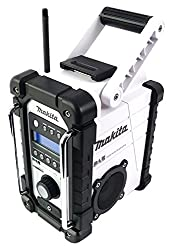 Makita DMR104W DMR 104 W Akku Baustellen Radio Weiß-Solo, ohne Akkus und Ladegerät, blau, silber