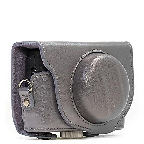 L?étui en cuir ?Toujours prêt? MegaGear pour appareil photo ? Housse de protection pour Sony Cyber?shot DSC?RX100 V, DSC-RX100M II, DSC-RX100 III, DSC-RX100 IV (Gris)