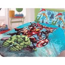 Iron Man Avengers Hulk Colcha de cama, diseño de Capitán América Thor Novia Italia algodón puro 100% por encima de la funda de almohada