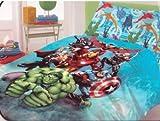 Novia Italia–Avengers/Iron Man/Hulk/Thor/Captain America Bettwäsche-Set, 100% reine Baumwolle, Spannbetttuch, Bettlaken, Kopfkissen Fall