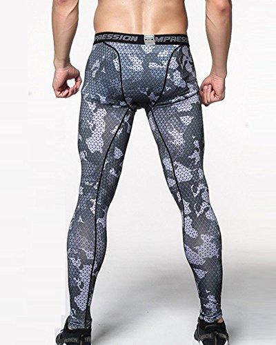 Uomo Sportivi Leggings a Compressione Base Strato Termico Fintess Pantaloni Come Immagine