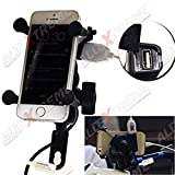 AllExtreme Motorcycle Phone Mount, Universal Bike Cell Phone Spider Bike Multifunctional Mobile Holder X Grip Handlebar Mirror Accessories with USB Charger for iPhone, Samsung, GPS Device
