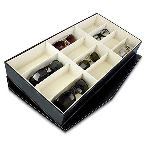 Brillenbox zur Aufbewahrung von 12 Brillen - Schwarz 49 x 25 x 7 cm - Display zur Sonnenbrillen Präsentation - Grinscard