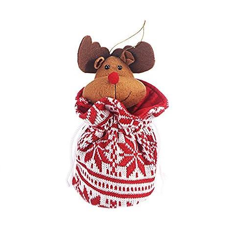 Tinksky Weihnachts Geschenktüten Christbaumschmuck Anhänger Elch Puppe Beutel Partytüten Handtasche für Apfel Süßigkeiten Verpackung (Süßigkeiten, Christbaumschmuck)