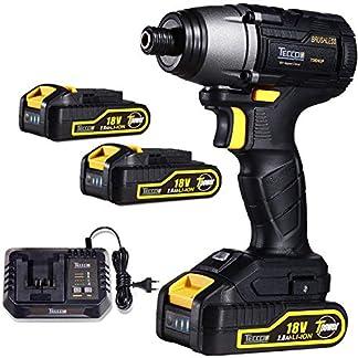 Atornillador de Impacto, TECCPO Brushless 220Nm Atornillador Bateria 18V, 2 Bateria de 2.0Ah, 30 min Cargador Rapido, 6.35mm Mandril de metal Autoblocante, Mejor Regalo de DIY