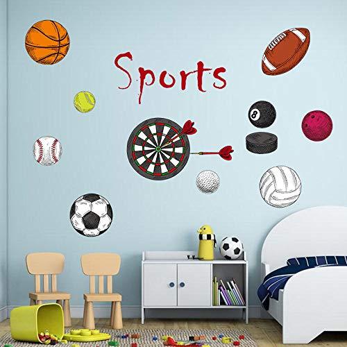 e Sport Baseball Fußball Basketball Baby Kinderzimmer Cartoon Wandaufkleber Schlafzimmer Dekor ()