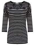 Meaneor Damen T-Shirt Spitze Oberteile Pullover Bluse Tunika Langarm Shirts Tops, Schwarz Stripes, EU 36(Herstellergröße: S)