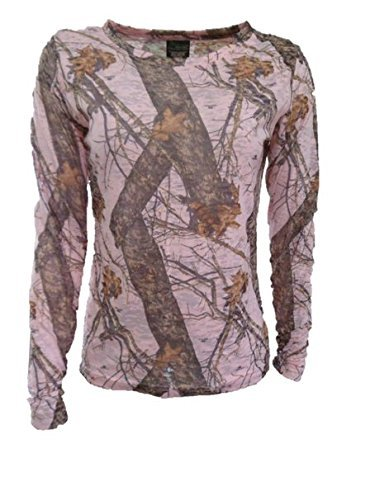 Mossy Oak Pink Womens Burnout Long Sleeve Lightweight Shirt
