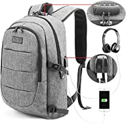 Tzowla Business Laptop Backpack Water Resistant Anti-Theft College Backpack with USB Charging Port and Lock 15