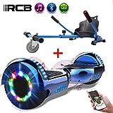 RCB Hoverboard Elektroroller Selbstausgleichender Roller mit Hoverkart Go-Kart Eingebaute LED-Leuchten Bluetooth-Lautsprecher für Kinder und Erwachsene 6.5 Roll