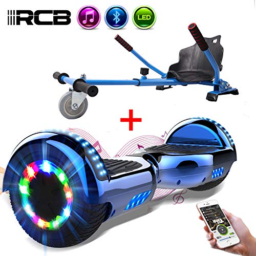 RCB Hoverboard Elektroroller Selbstausgleichender Roller mit Hoverkart Go-Kart Eingebaute LED-Leuchten Bluetooth-Lautsprecher für Kinder und Erwachsene 6.5 Roll*