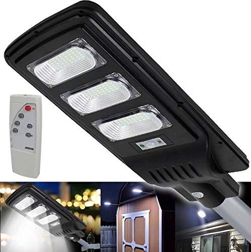 Faro lámpara con panel Solar para farol de tráfico de LED de 60W para exteriores IP65Luz blanca Hielo 6500K de Aluminio Negro