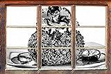 Stil.Zeit Monocrome, Super surpoids glacée au ChocolatWindows en 3D Regarder, Taille Sticker Mural ou de Porte: 92x62cm, Stickers muraux, Sticker Mural, décoration Murale