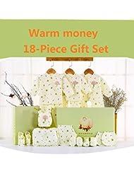SHISHANG Caja de regalo del bebé Caja determinada 100% del bebé de la luna llena del algodón determinado determinado (sistema de 18 pedazos) (juego de 22 piezas) Muchacha del muchacho cuatro estaciones para el bebé 0-1-Year-old , C , 66cm