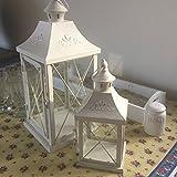 Juego de 2 linternas (metal y cristal, tamaño aprox. 40x17x17cm y 27x11x11cm), acabado desgastado, color blanco