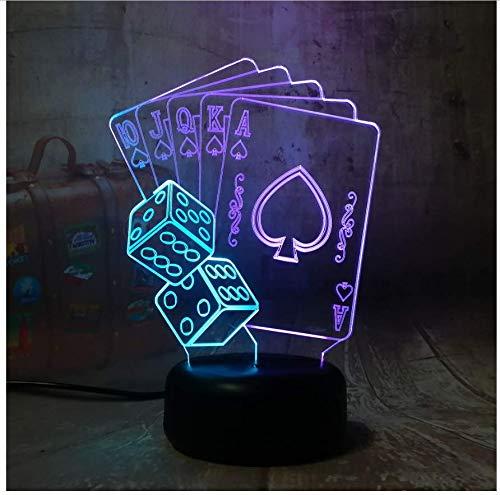 XINGXIAOYU Neuheit Poker Spielkarte 3D Led RGB 7 Mixed Dual Color Nachtlicht Kinder Geburtstagsgeschenk Spielzeug Von Weihnachten Schlafzimmer Dekoration -